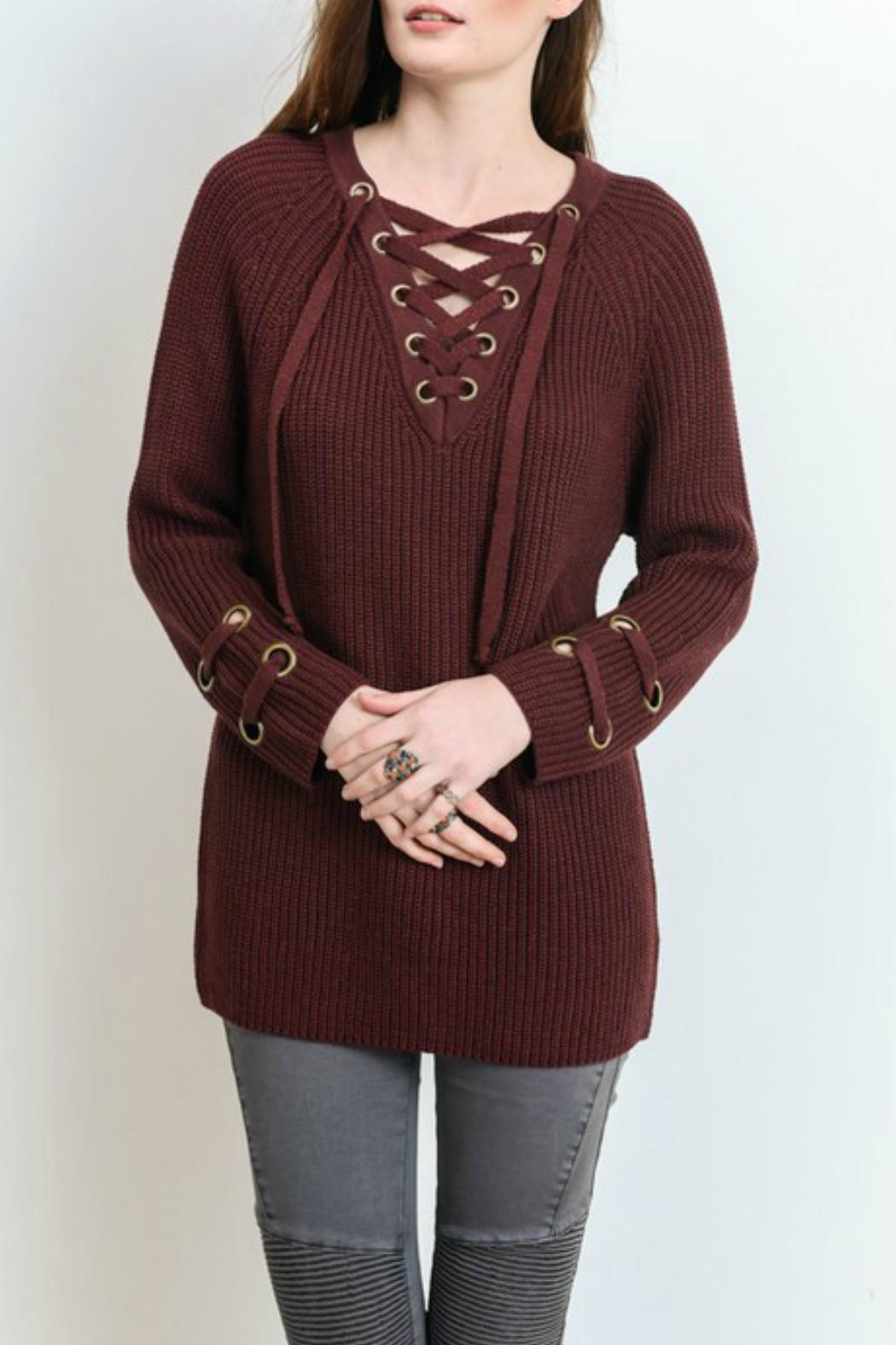 Wishlist Lace Up Sweater - Main Image