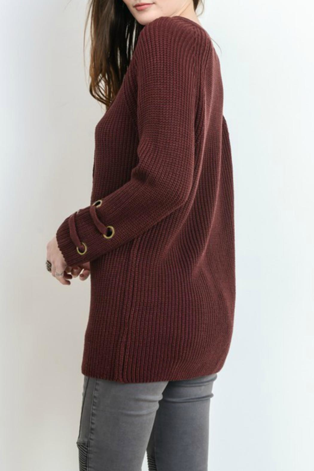Wishlist Lace Up Sweater - Front Full Image