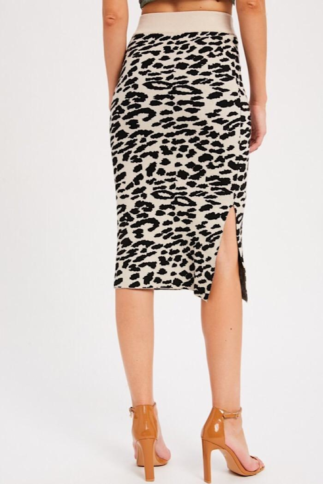 Wishlist Leopard Causal Knit Skirt - Side Cropped Image