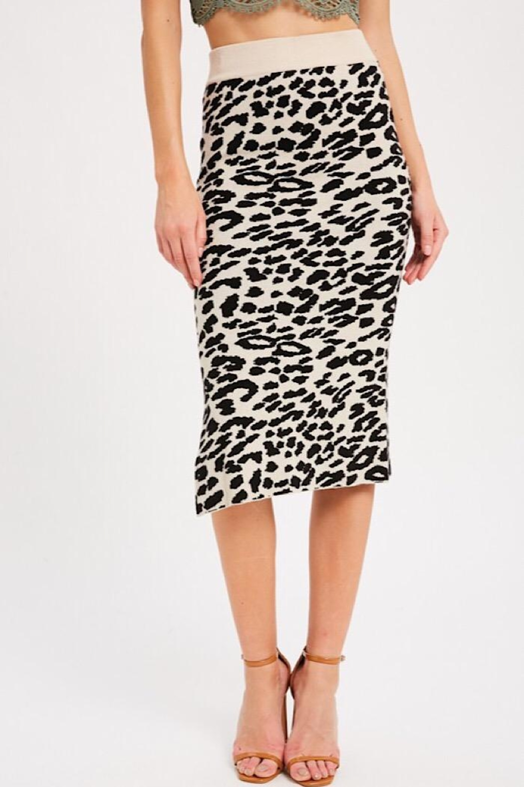 Wishlist Leopard Causal Knit Skirt - Main Image