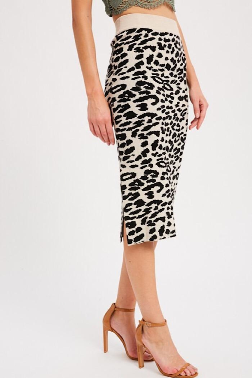 Wishlist Leopard Causal Knit Skirt - Front Full Image