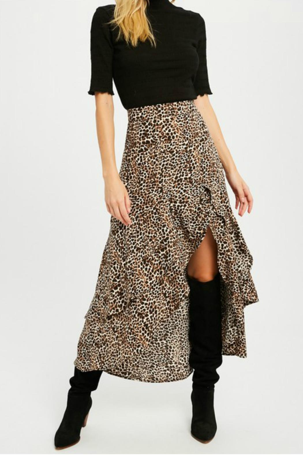 Wishlist Leopard Tiered Skirt - Front Cropped Image