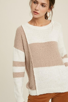 Mint Cloud Boutique Lightweight Loose Fit Oversize Colorblock Stripe Knit Pullover Sweater Top - Product List Image