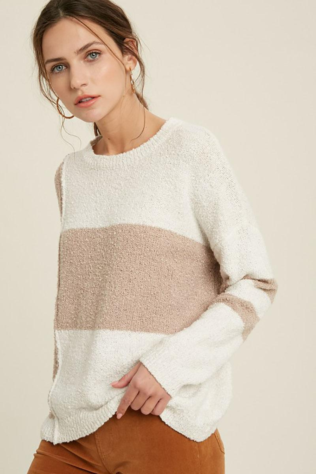 Mint Cloud Boutique Lightweight Loose Fit Oversize Colorblock Stripe Knit Pullover Sweater Top - Front Full Image