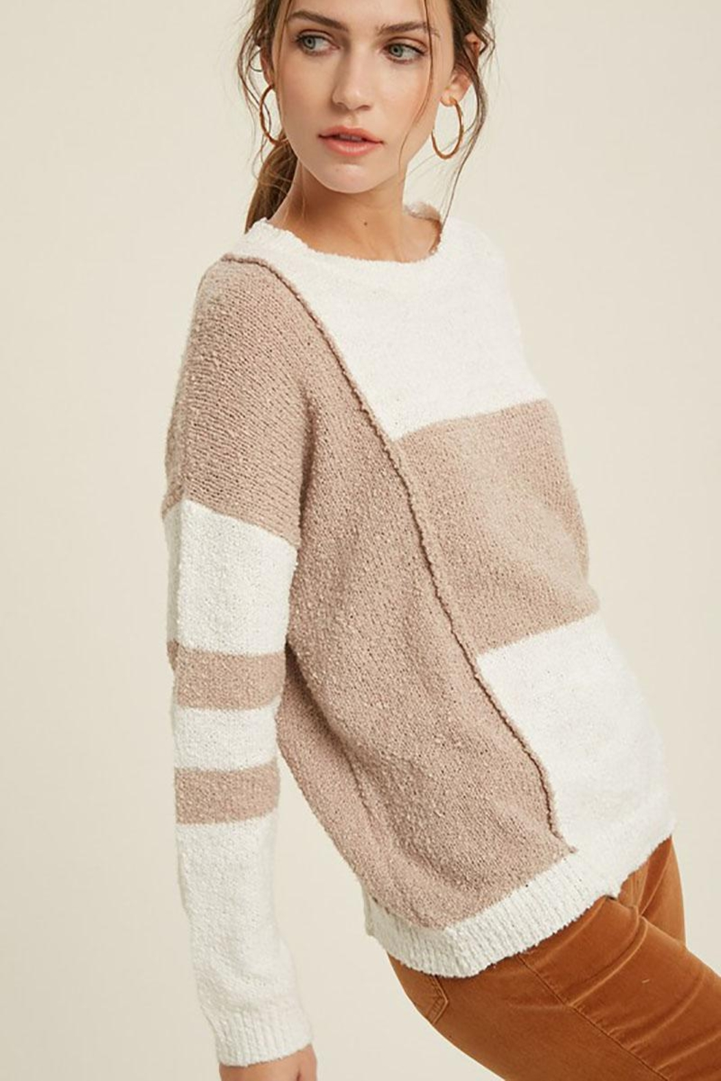 Mint Cloud Boutique Lightweight Loose Fit Oversize Colorblock Stripe Knit Pullover Sweater Top - Side Cropped Image