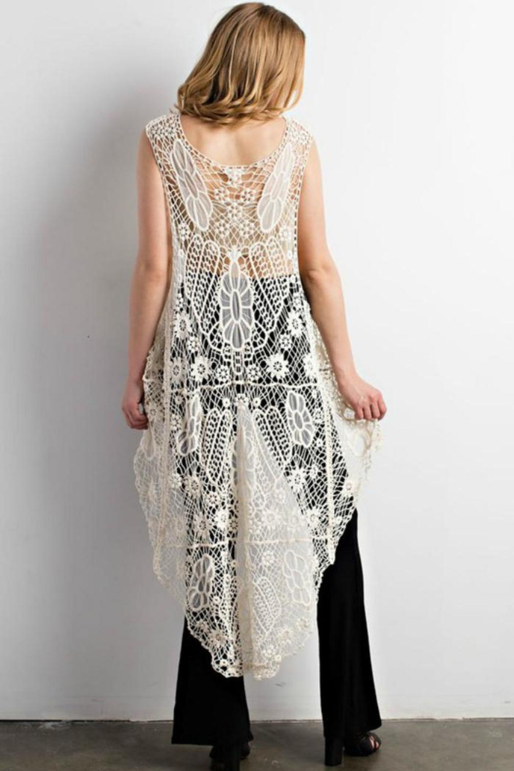 Wishlist Long Crochet Vest Front Full Image