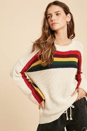 Wishlist Multi Color Rainbow Stripe Knit Pullover Sweater Top - Side cropped