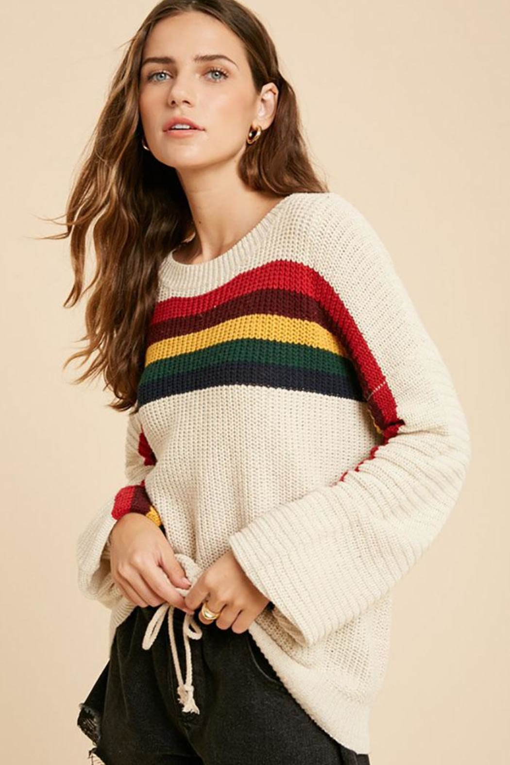Wishlist Multi Color Rainbow Stripe Knit Pullover Sweater Top - Front Full Image