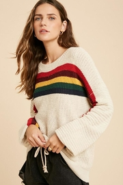 Wishlist Multi Color Rainbow Stripe Knit Pullover Sweater Top - Front full body