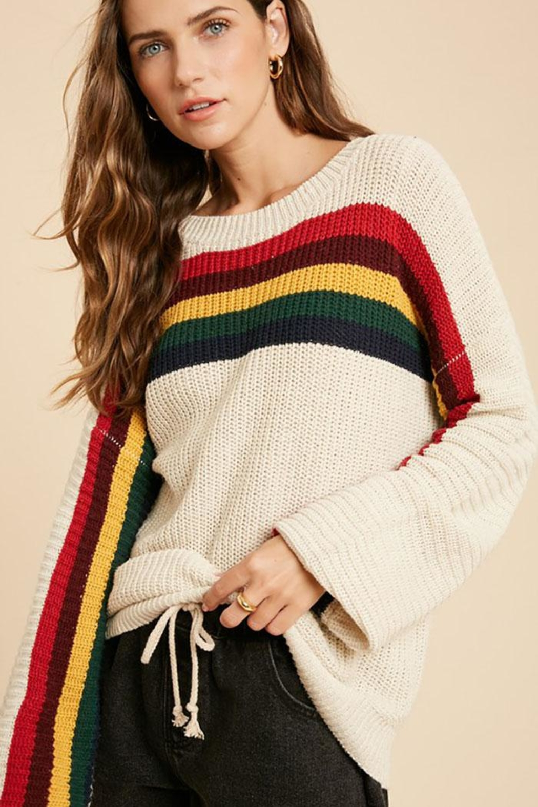 Wishlist Multi Color Rainbow Stripe Knit Pullover Sweater Top - Main Image