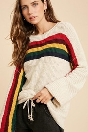Wishlist Multi Color Rainbow Stripe Knit Pullover Sweater Top - Front cropped