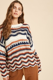Wishlist Multi Color Stripe Crochet Knit Sweater - Product Mini Image