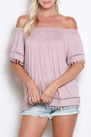 Wishlist Off-Shoulder Pom-Pom Top - Product Mini Image