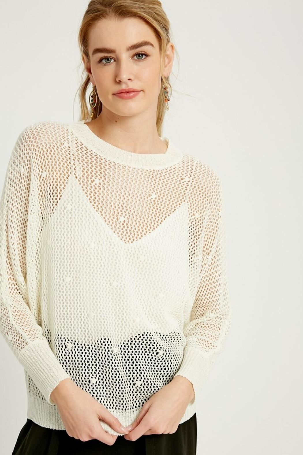 Wishlist Open-Knit Crochet Top - Front Full Image