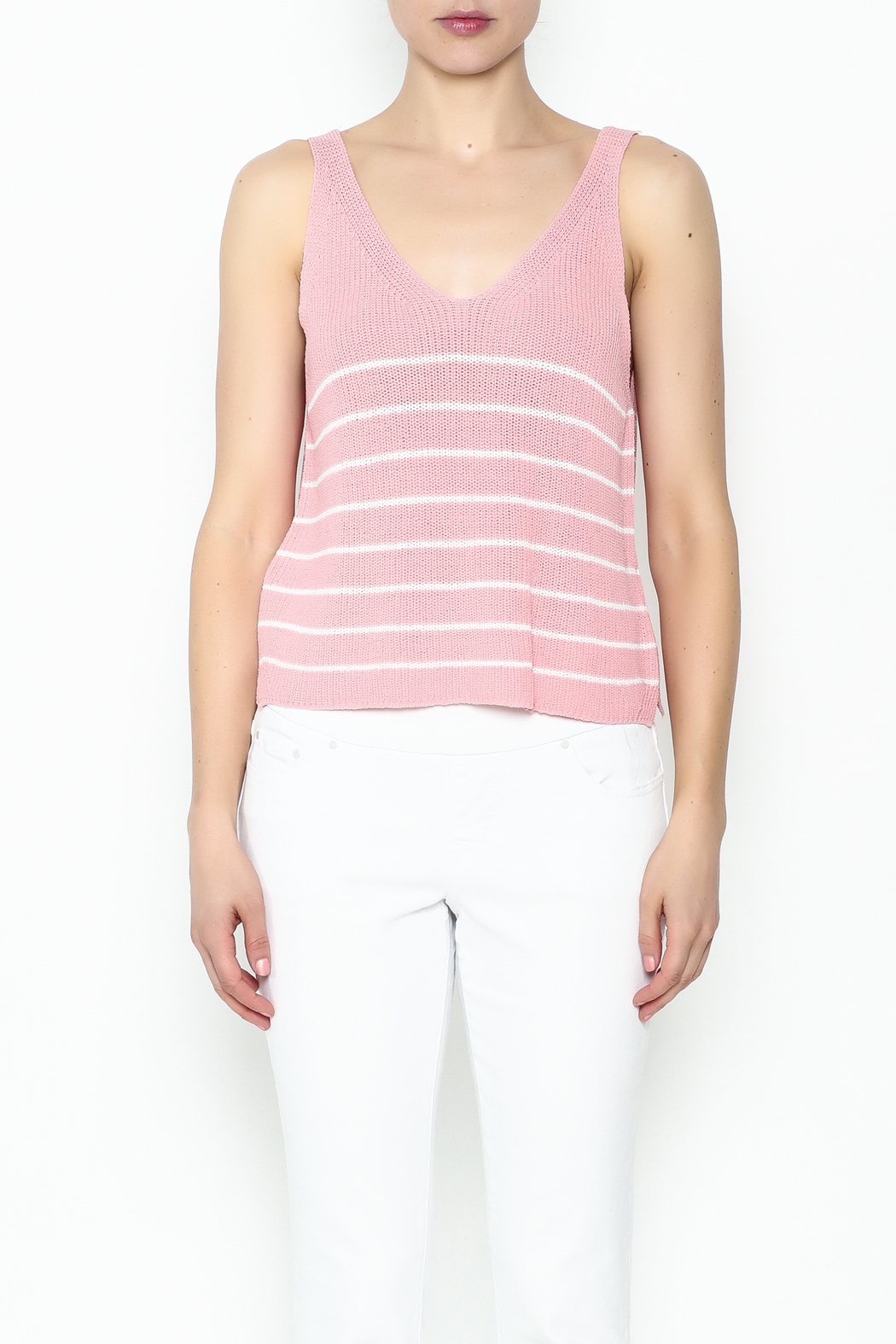 Wishlist Pink Striped Tank Top - Front Full Image