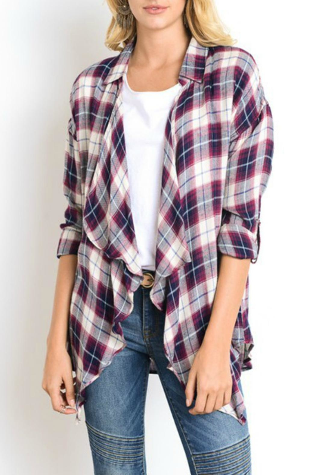 Wishlist Plaid Drape Cardigan - Front Full Image