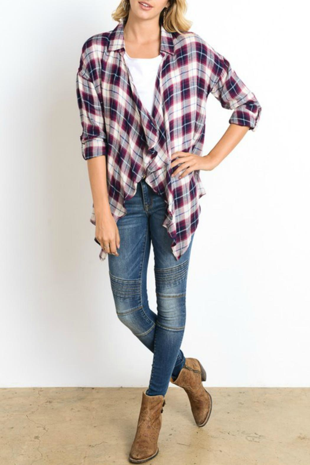 Wishlist Plaid Drape Cardigan - Front Cropped Image