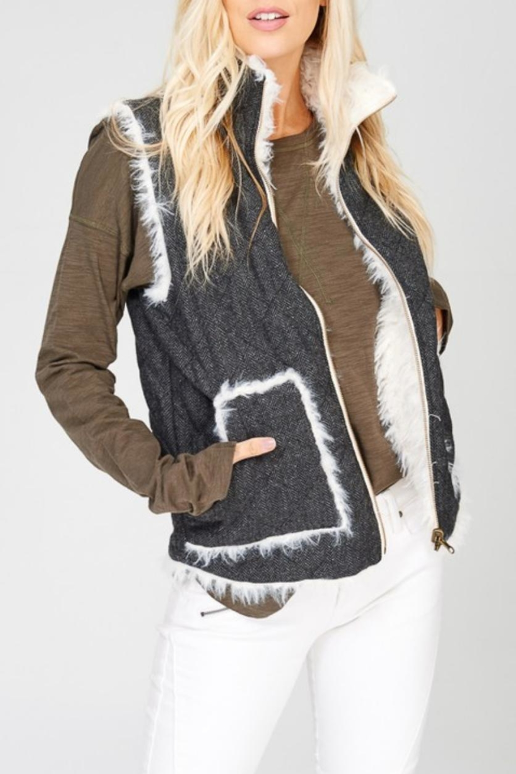 Wishlist Reversible Quilted-Fur Vest - Front Full Image