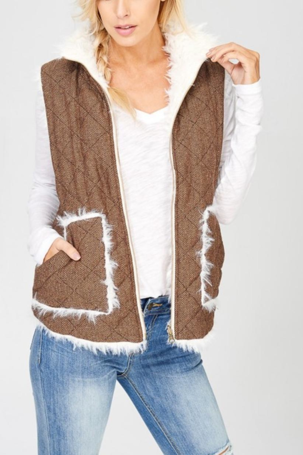 Wishlist Reversible Quilted-Fur Vest - Front Cropped Image