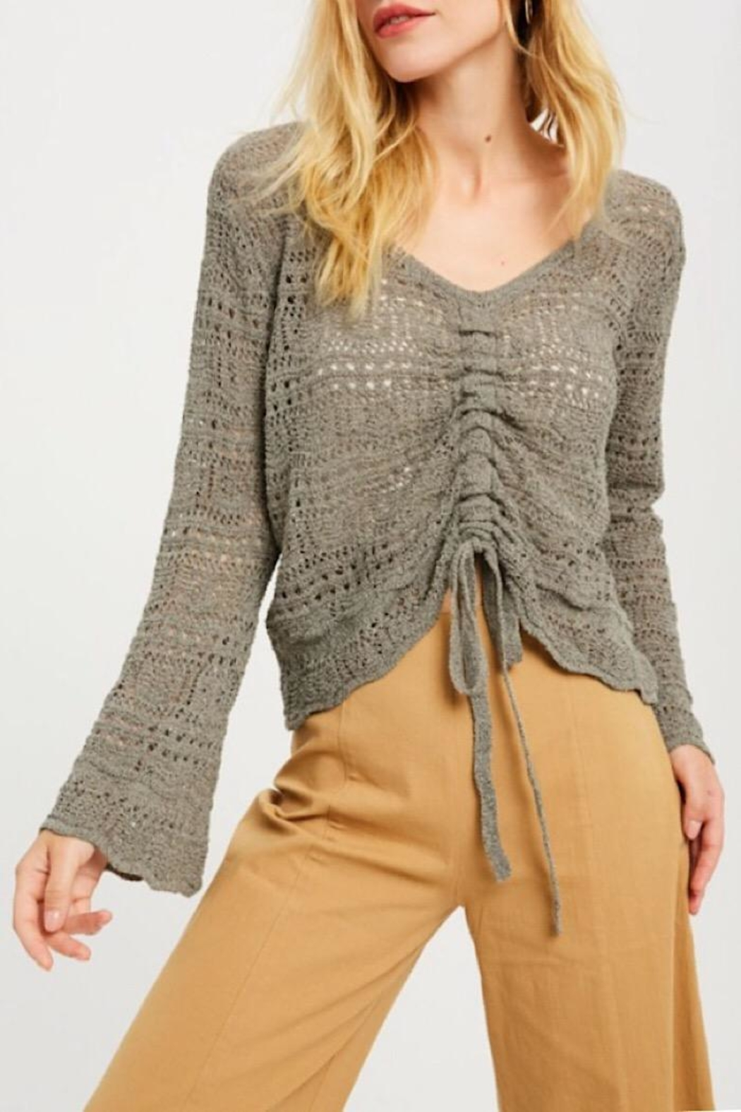 Wishlist Ruched Detail Summer Sweater - Front Full Image