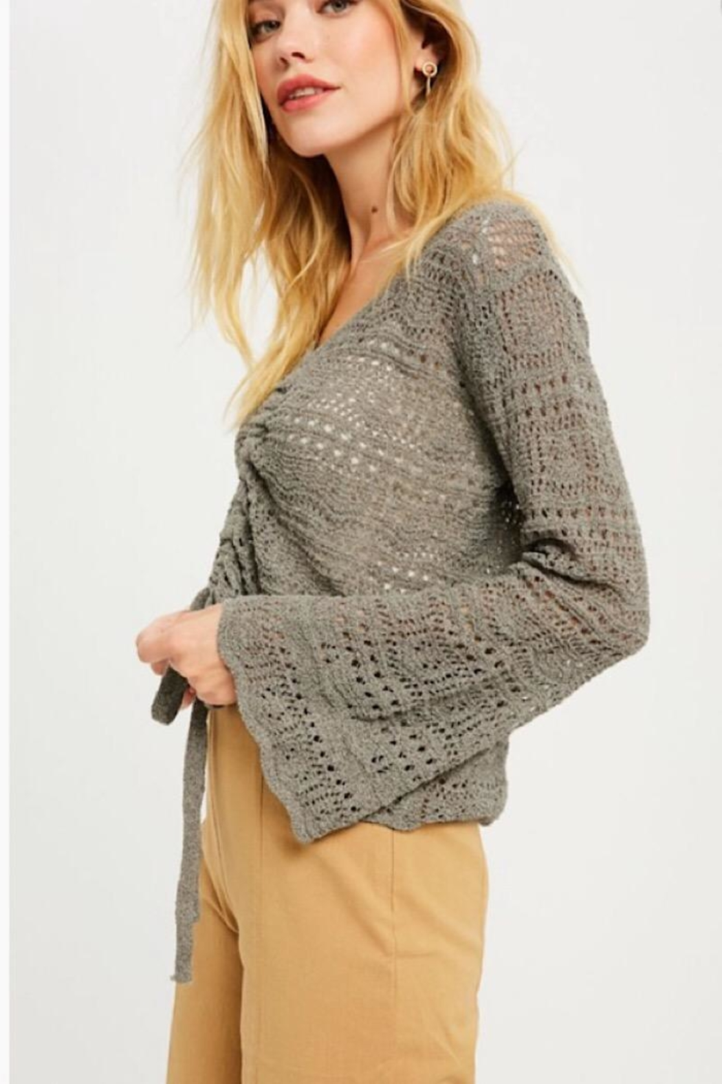 Wishlist Ruched Detail Summer Sweater - Side Cropped Image