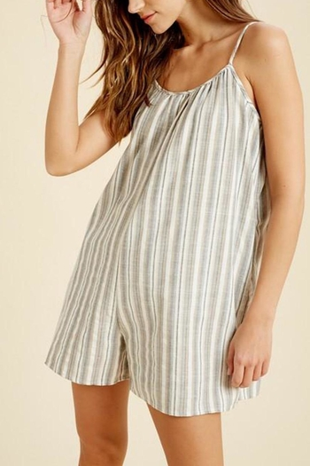 Wishlist Sleeveless-Striped-Linen Romper from Virginia by mod&soul — Shoptiques
