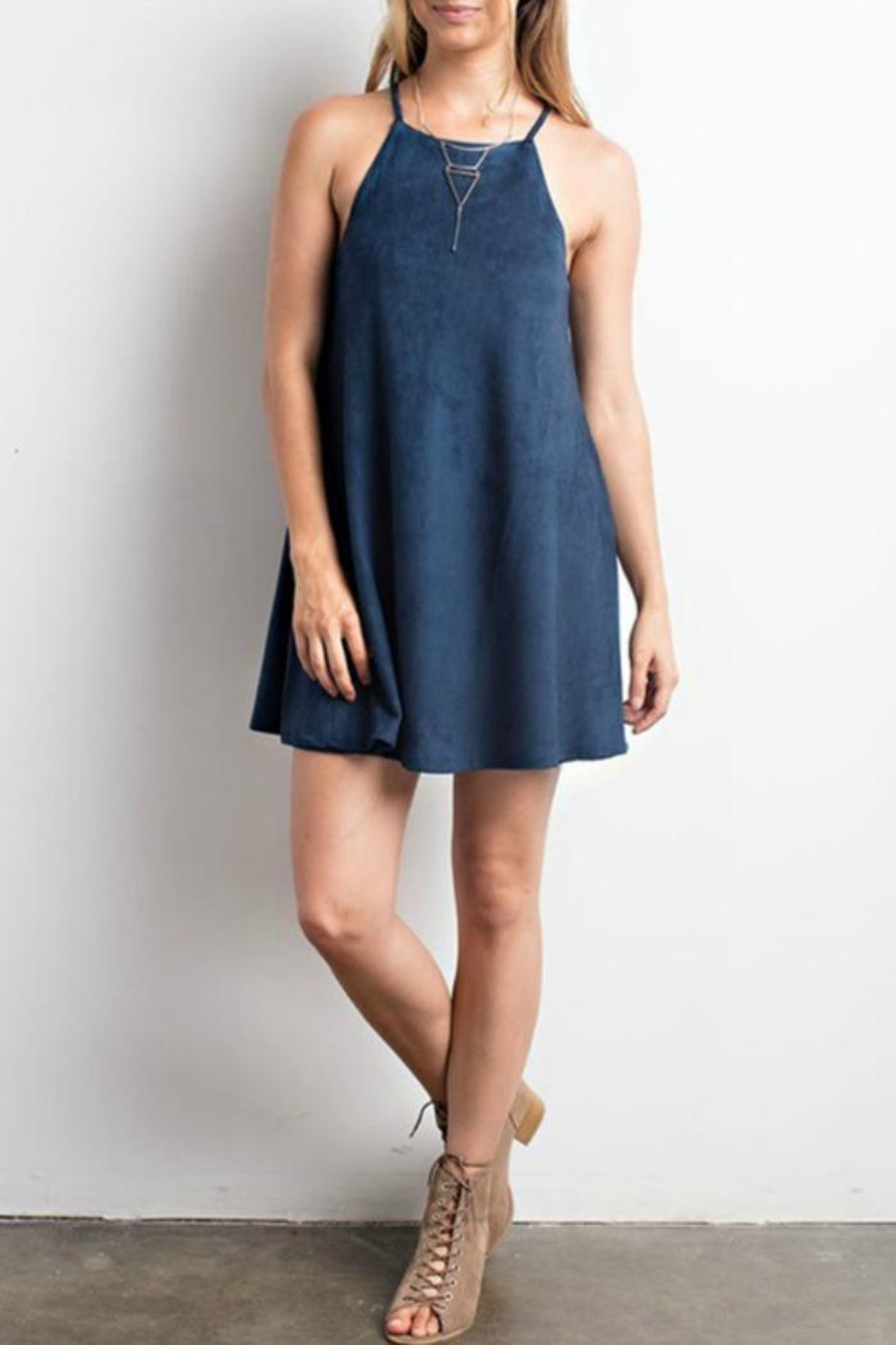 Wishlist Solid Suede Dress - Front Cropped Image
