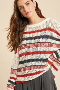 Shoptiques Product: Stripe Loose Fit Lightweight Knit Pullover Sweater Top