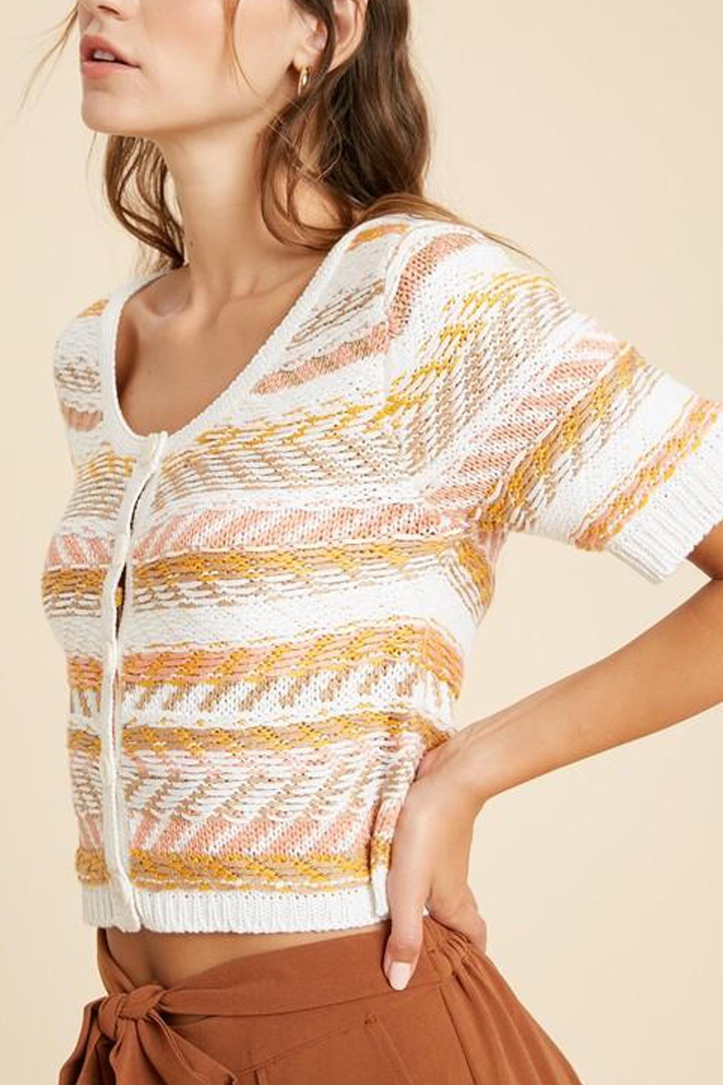 Wishlist Striped Button-Down Sweater - Front Full Image