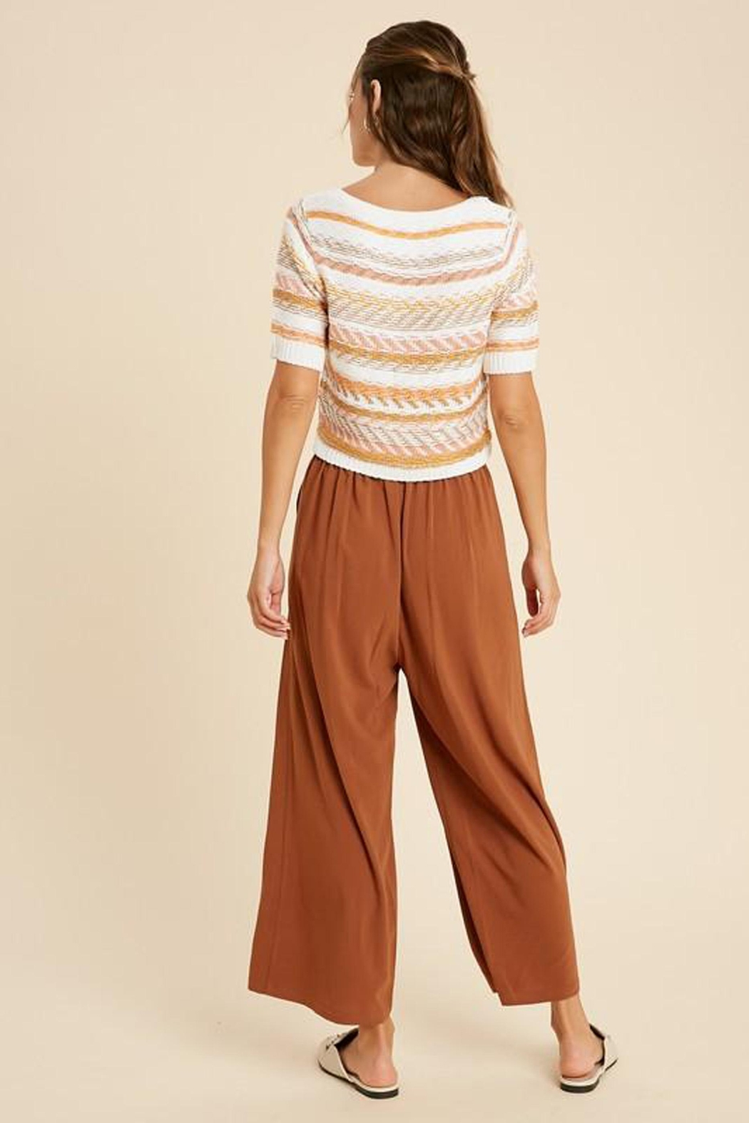 Wishlist Striped Button-Down Sweater - Back Cropped Image