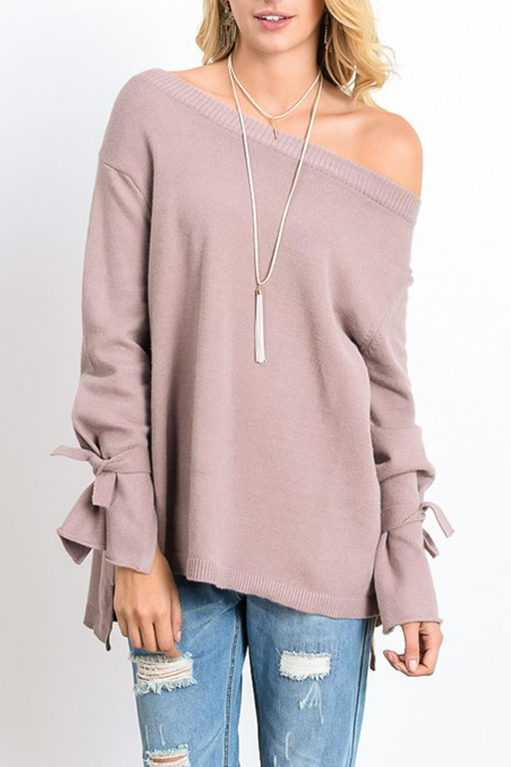 Wishlist Sweater Tie Long Sleeve - Front Cropped Image
