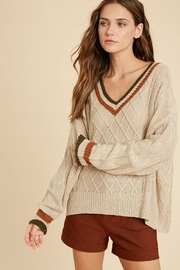 Wishlist Varsity Multi Color Colorblock Detail Lightweight Pullover Sweater - Front cropped