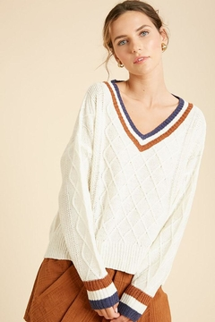 Wishlist Varsity Multi Color Colorblock Detail Lightweight Pullover Sweater - Product List Image