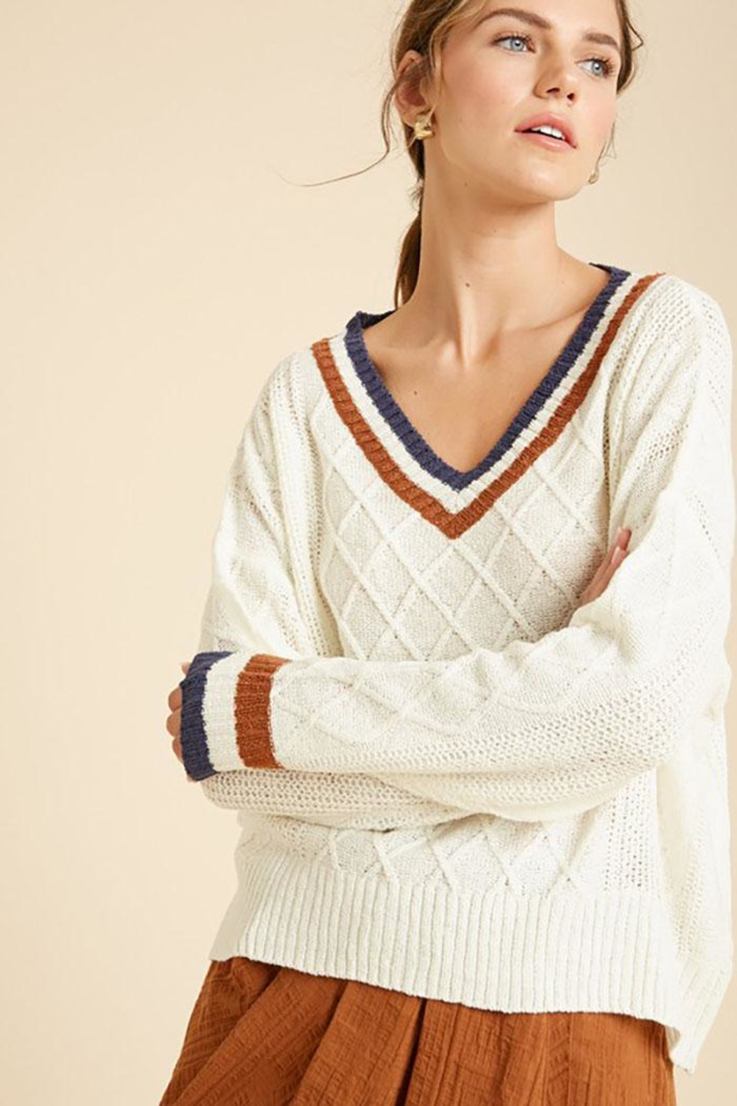 Wishlist Varsity Multi Color Colorblock Detail Lightweight Pullover Sweater - Front Full Image