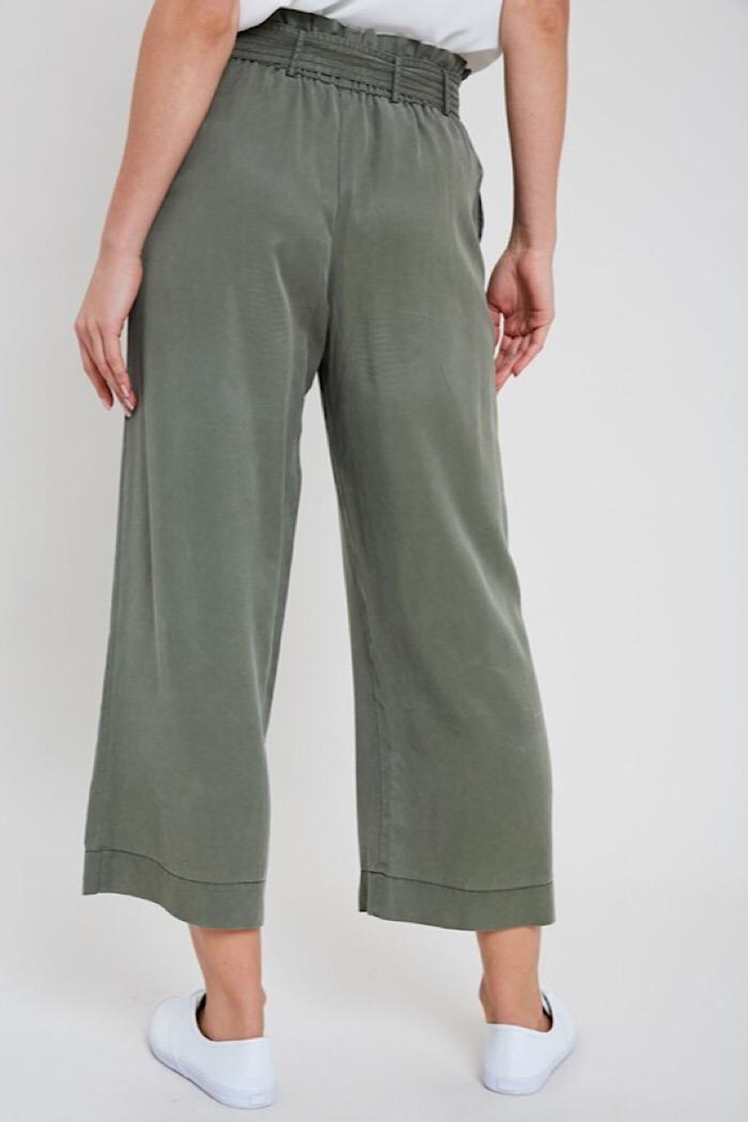 Wishlist Washed Self-Tie Belted Tencel Pants - Front Full Image