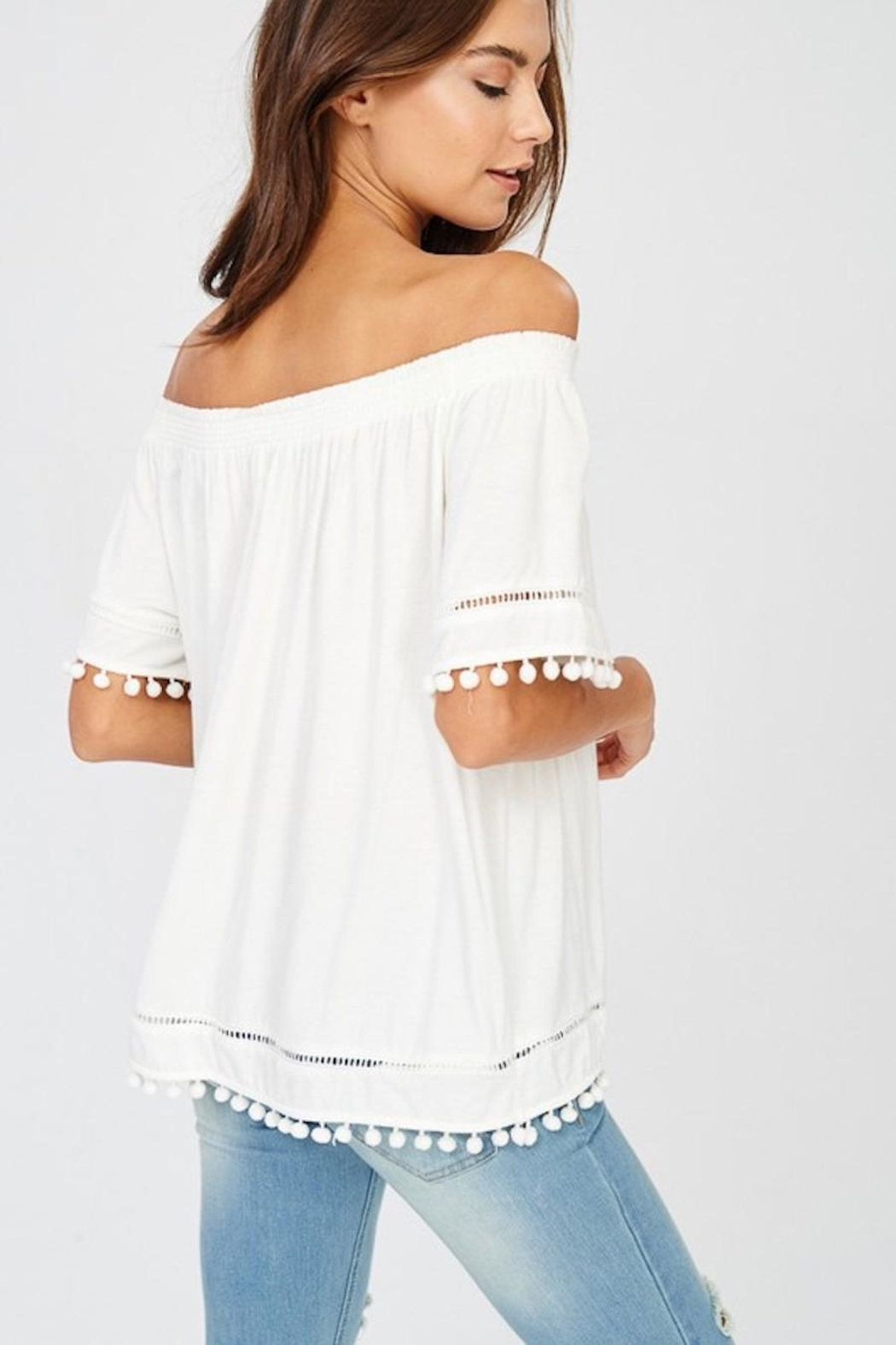 Wishlist White Pom-Pom Top - Side Cropped Image
