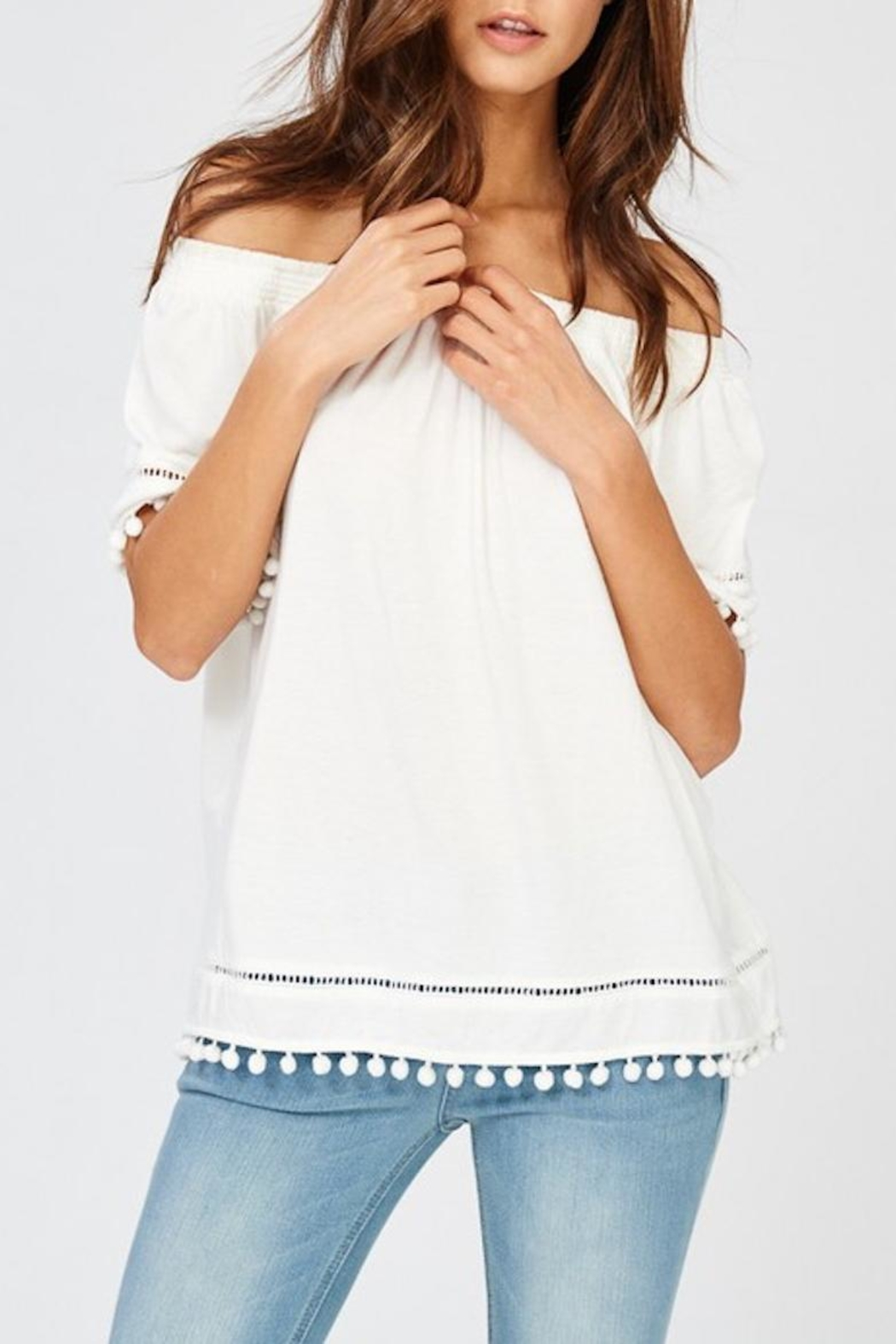Wishlist White Pom-Pom Top - Main Image