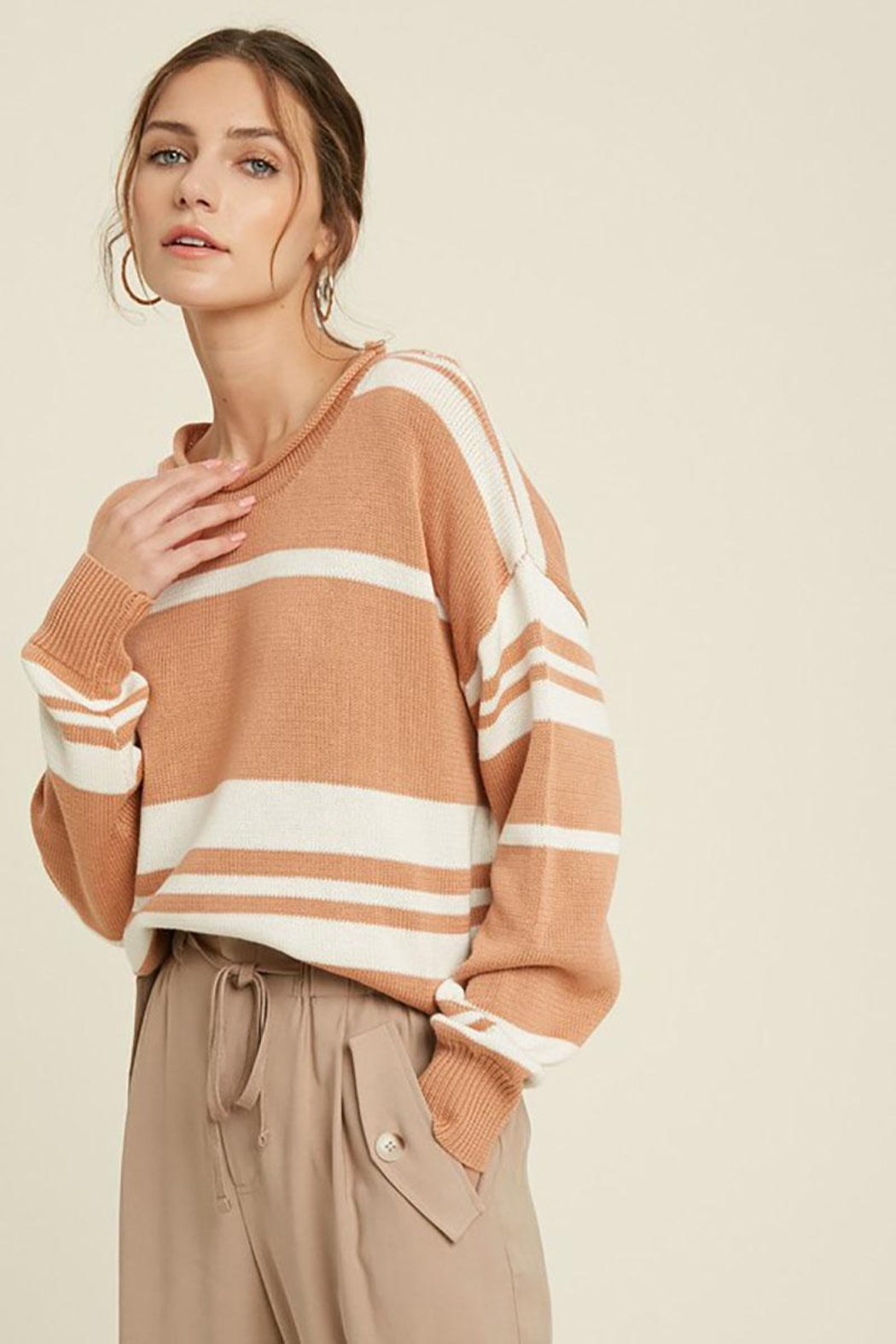 Mint Cloud Boutique Colorblock Variegated Stripe Knit Loose Fit Pullover - Back Cropped Image