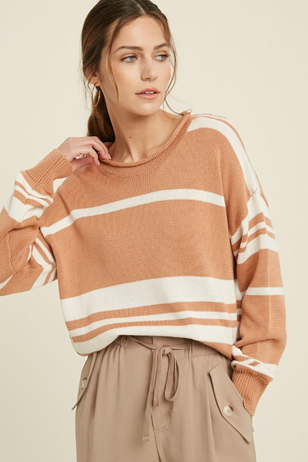 Mint Cloud Boutique Colorblock Variegated Stripe Knit Loose Fit Pullover - Front Full Image