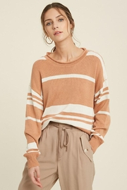 Mint Cloud Boutique Colorblock Variegated Stripe Knit Loose Fit Pullover - Front cropped
