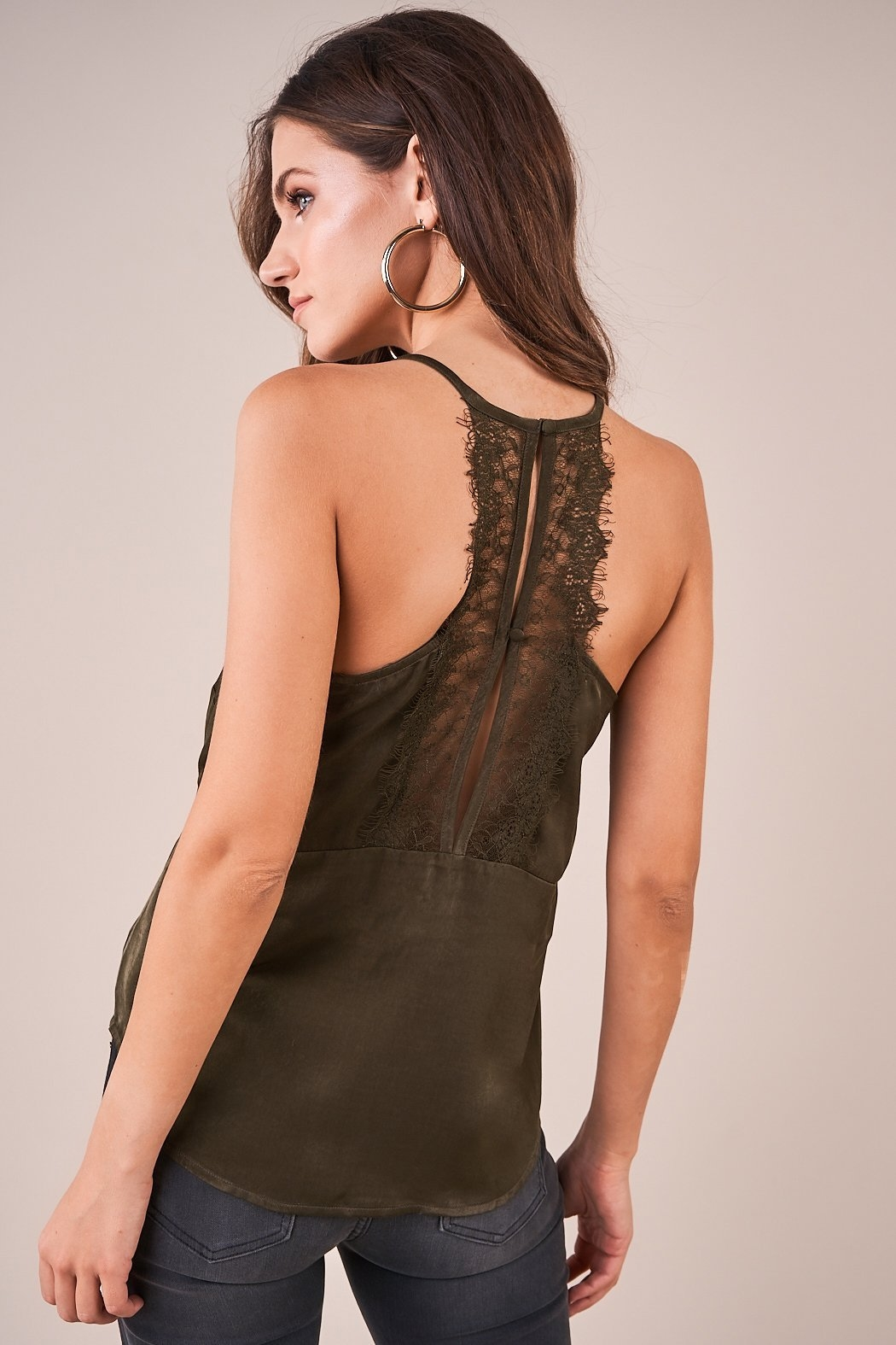 Sugarlips With Love Lace Trim Satin Cami - Back Cropped Image