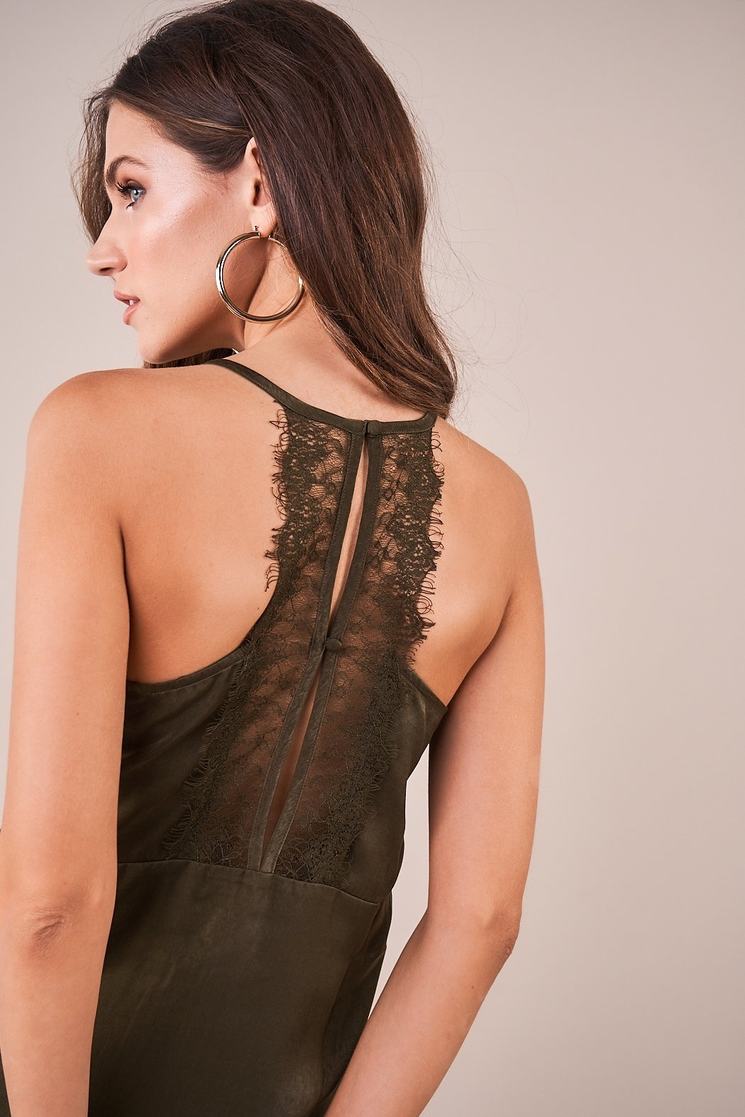 Sugarlips With Love Lace Trim Satin Cami - Front Full Image