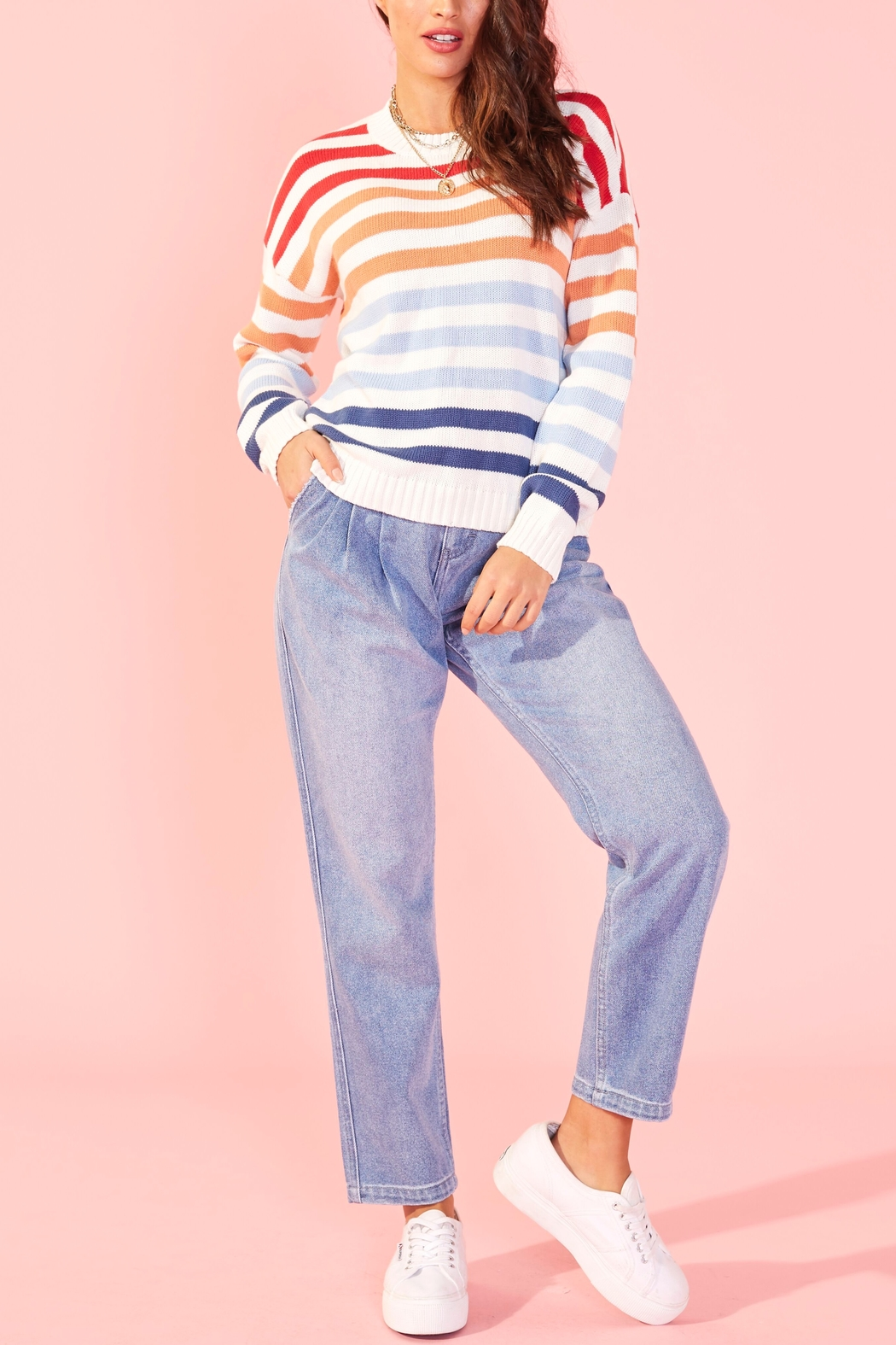 MINKPINK Without A Double Stripe Sweater - Front Cropped Image