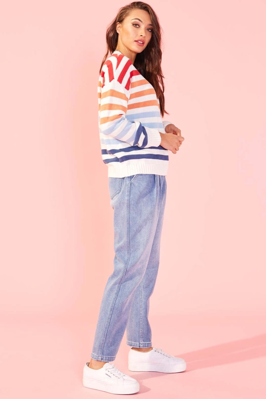 MINKPINK Without A Double Stripe Sweater - Front Full Image