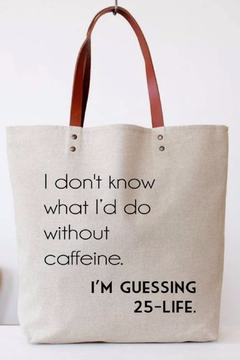 Color Bear Without Caffeine Canvas Tote - Alternate List Image