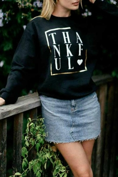 Shoptiques Product: Black Thankful Sweatshirt