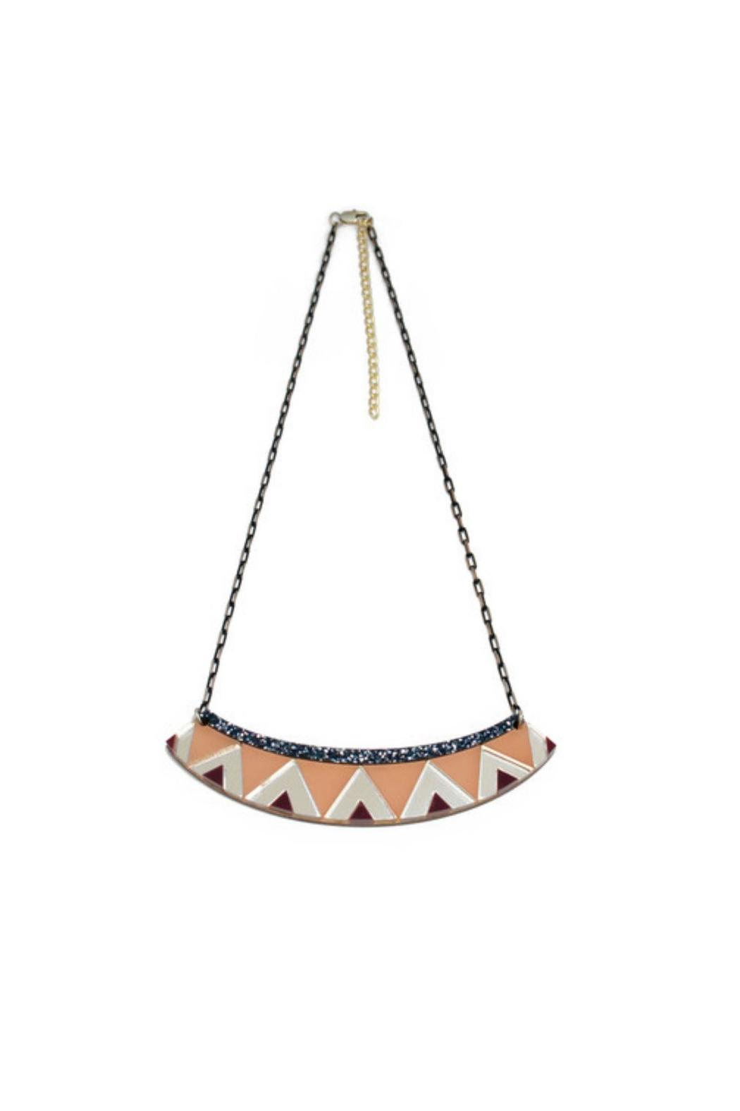 Wolf & Moon Zigzag Necklace - Front Cropped Image