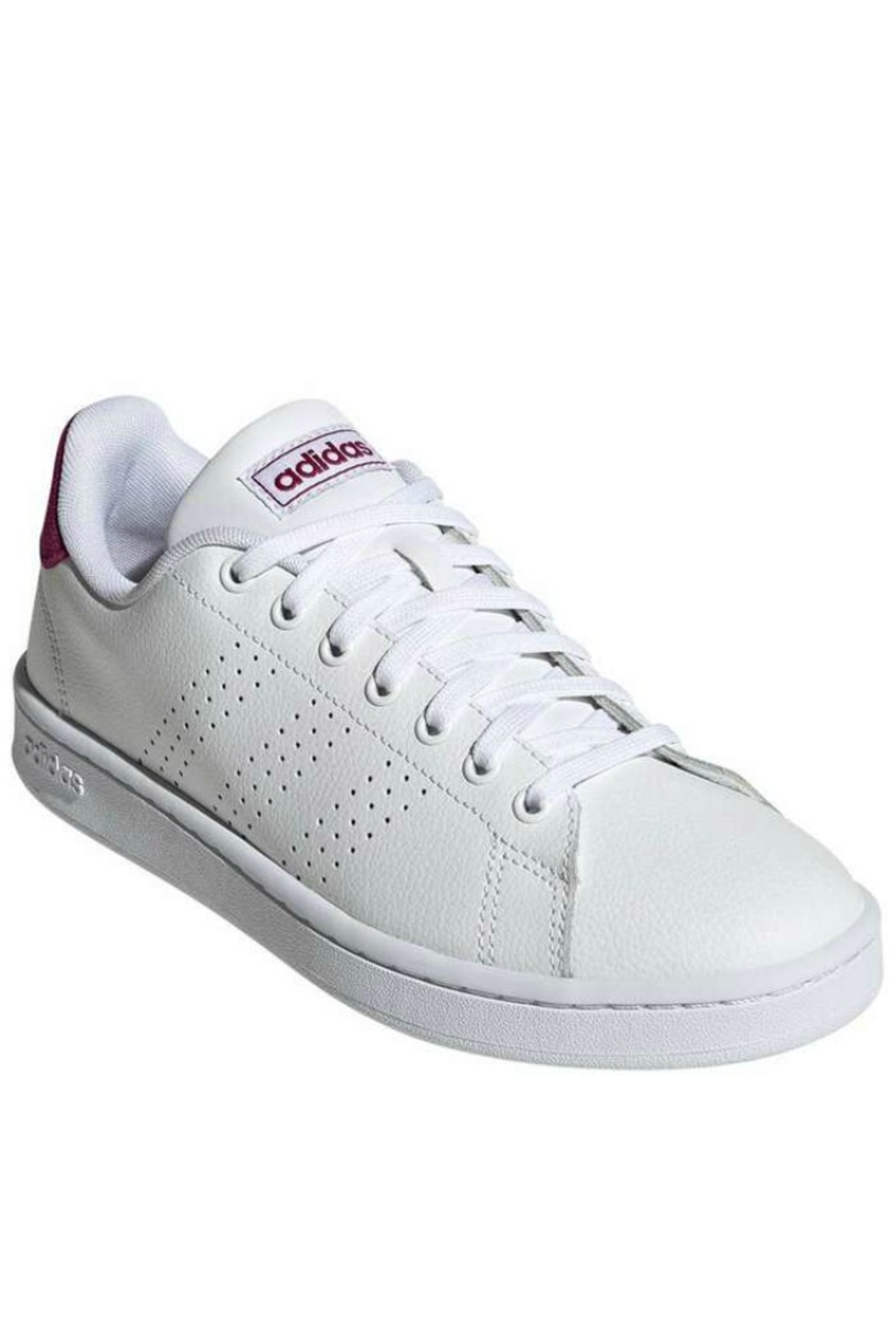 adidas Women's Adidas Advantage in White/Powder Berry - Front Cropped Image