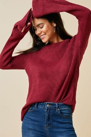 Hayden Los Angeles Women's Cutout Bell-Sleeve Crew-Neck Sweater Top - Front cropped
