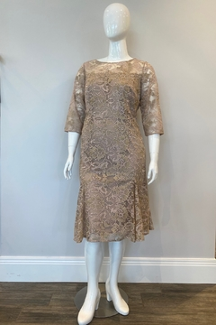 Shoptiques Product: Women's Embroidered Lace Flared Dress, Nude/Multi